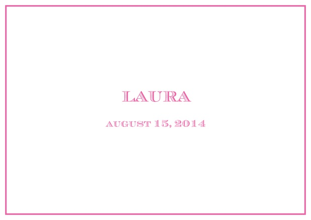Classic Birth Announcement card wiith single line frame including photos and editable text. Pink.