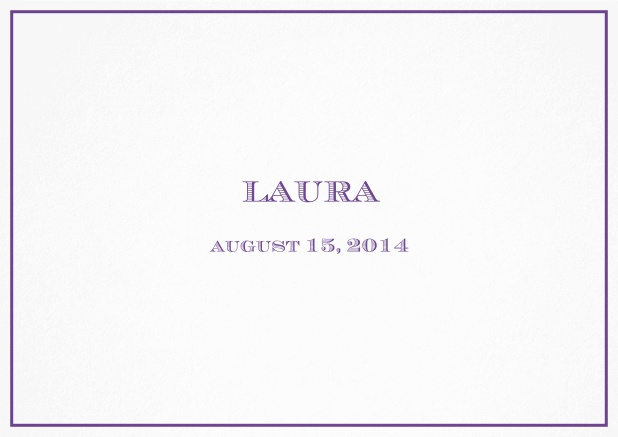 Classic Birth Announcement card wiith single line frame including photos and editable text. Purple.