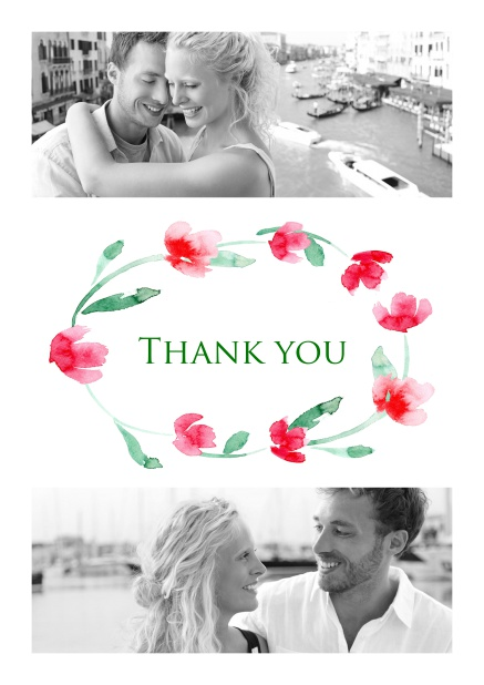 Online Thank you card with two photos and a circle of Roses.
