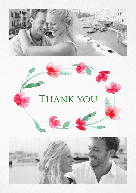 Thank you card with two photos and a circle of Roses.