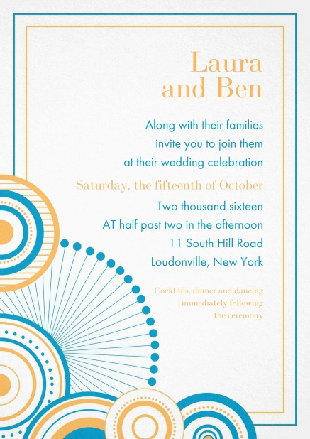 Modern invitation card with colorful frame and circles.