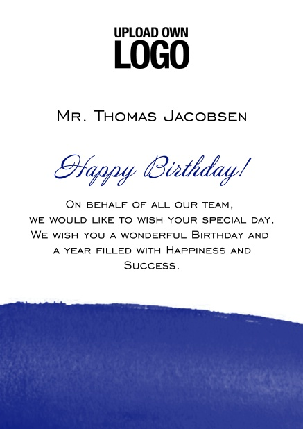 Online Corporate Birthday Greeting Card With Artistic Blue Area At The Bottom