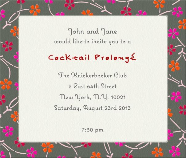 Square Format Beige Party or Cocktail Invitation Card with Floral Border.