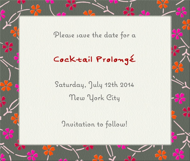 White Modern Event Save the Date Template with Floral Frame.