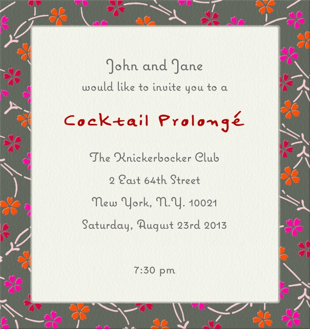 High Format Beige Party or Cocktail Invitation Card with Floral Border.