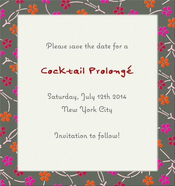 High White Modern Event Save the Date Template with Floral Frame.