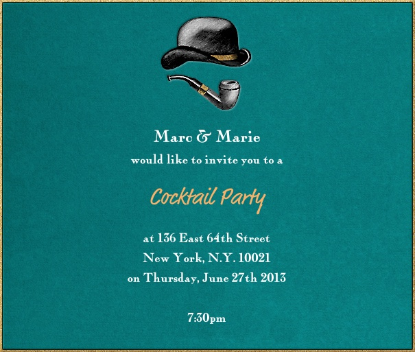 Square Sherlock Holmes Themed Invitation Design with Bowler and Pipe.