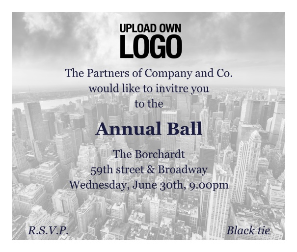 Corporate Ball Invitation for Professional invitations and Annual Balls.