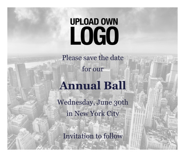Online Save the Date template for corporate events and annual ball with city landscape background and text box in the middle with space to upload own logo.