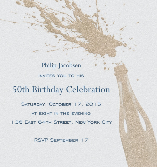 Online invitation card with champagne bottle pop and splash.