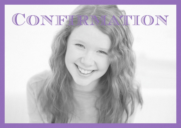 Confirmation invitation card with customizable color and Confirmation text on photo front. Purple.