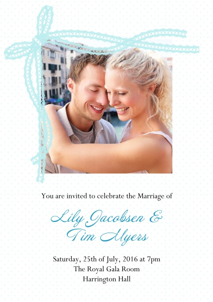 Online Wedding invitation card with blue ribbon and photo