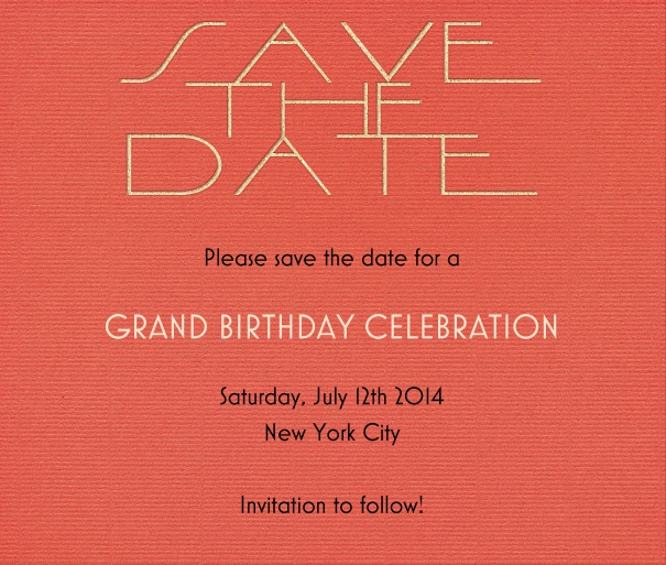 Red Modern Party Save the Date Template with Save the Date Header.