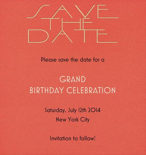 High Red Modern Party Save the Date Template with Save the Date Header.