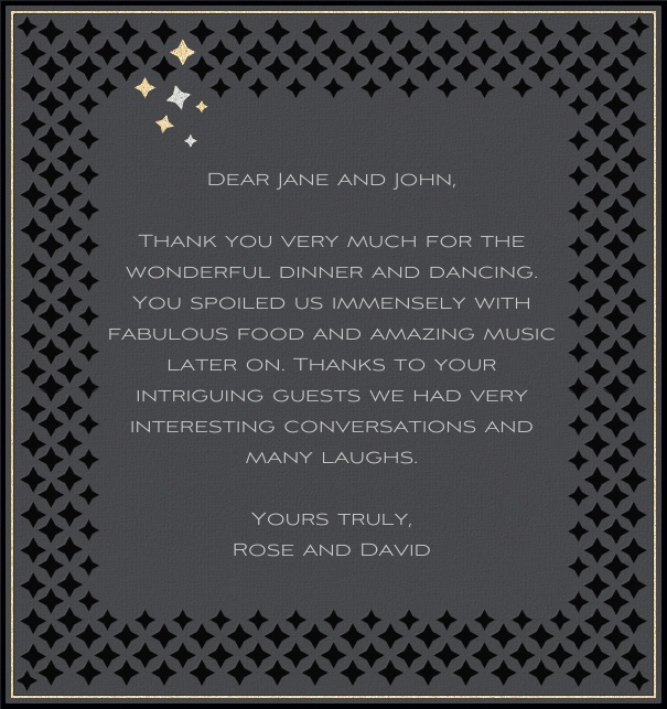 High Grey Celebration Card with Silver and Black Star Frame.