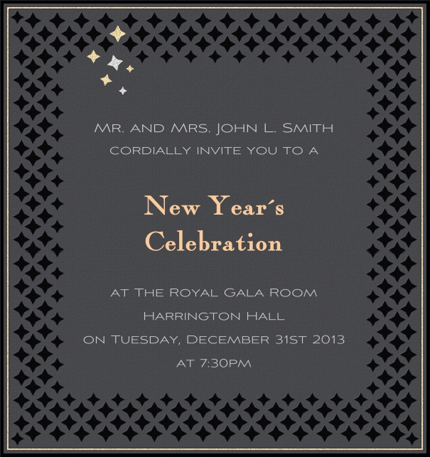High Format Grey Celebration Invitation Template with border.