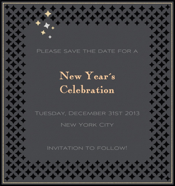 High FOrmat Grey Party Save the Date Card with Silver Border and Black Star Border.