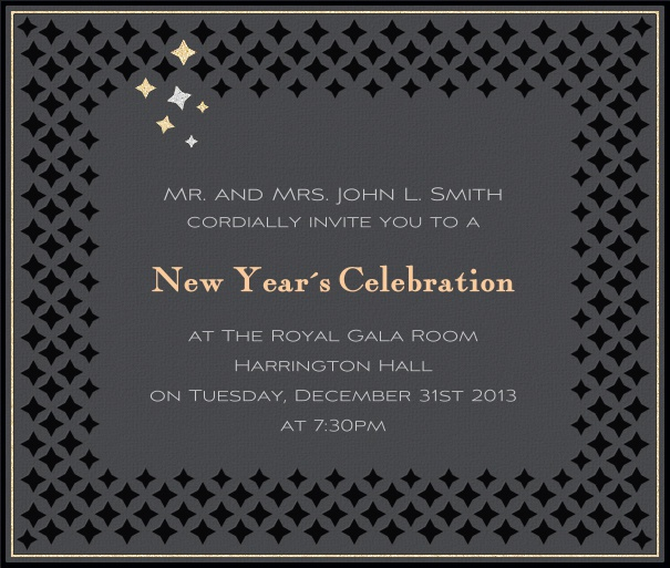 Square Grey Celebration Invitation Template with border.