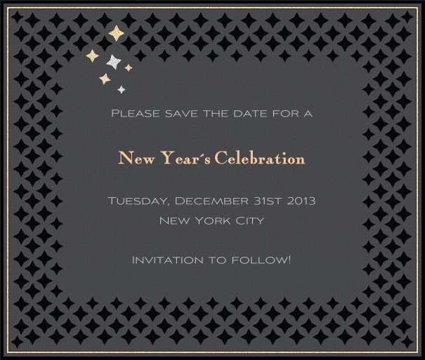 Grey Party Save the Date Card with Silver Border and Black Star Border.