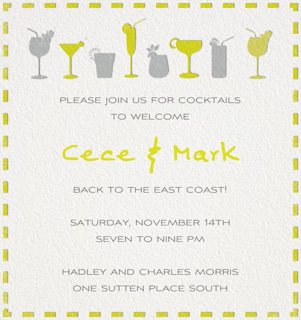 White Cocktail Invitation Card in high format with yellow grey cocktails.