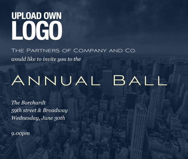 Blue Corporate Invitation Online, perfect for annual balls or  Corporate Events.