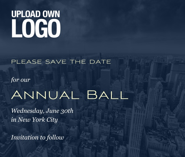 Square Save the Date template for corporate events and annual ball with dark city landscape and  text box in the middle with space on the top to upload own logo.