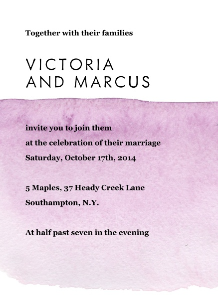 Online Wedding invitation card with purple watercolor behind text.