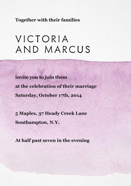 Wedding invitation card with purple watercolor behind text.
