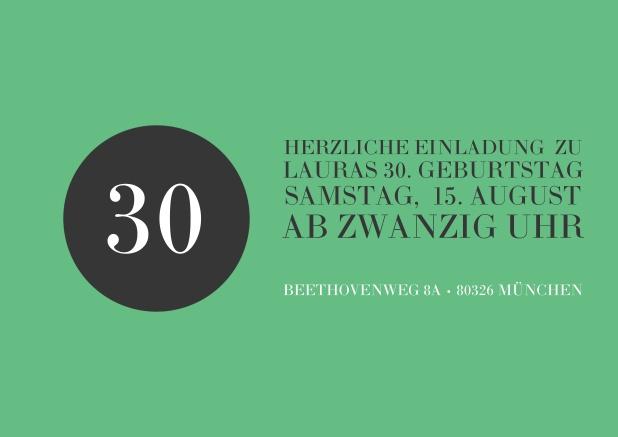 Online Einladung In Grün Mit Schwarzem Kreis Zum 30. Geburtstag.
