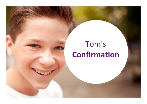 Online Confirmation invitation card with photo field and round text box. Purple.