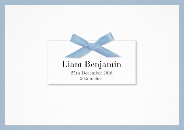Birth announcement with PRINTED blue ribbon and matching blue border and photo on the inside.