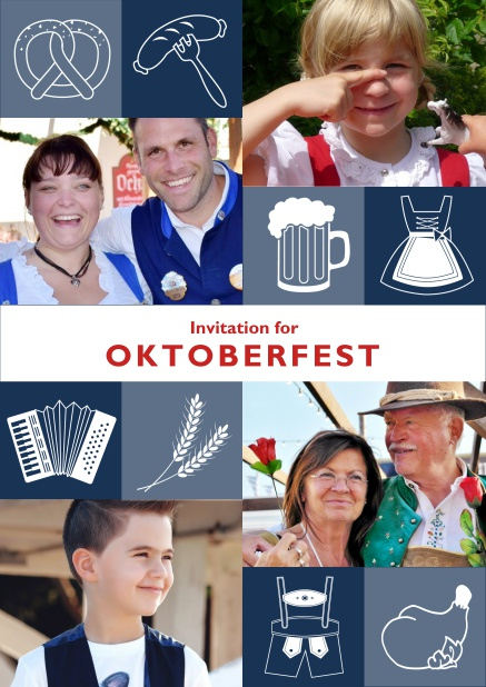 Online Oktoberfest invitation card with Oktoberfest images and photo fields to add own photos. Blue.