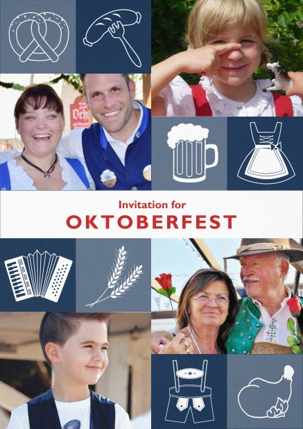 Oktoberfest invitation card with Oktoberfest images and photo fields to add own photos. Blue.