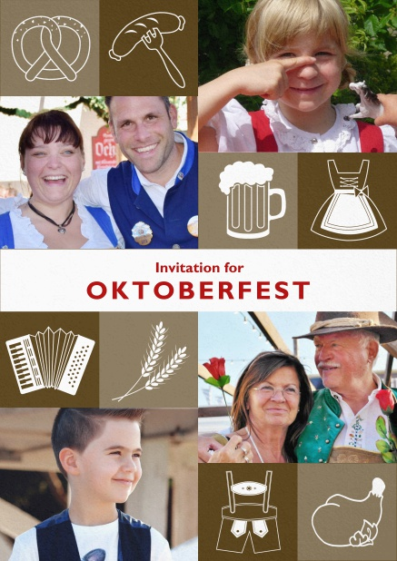 Oktoberfest invitation card with Oktoberfest images and photo fields to add own photos. Brown.