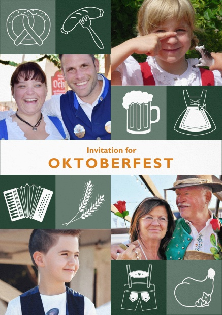 Oktoberfest invitation card with Oktoberfest images and photo fields to add own photos. Green.