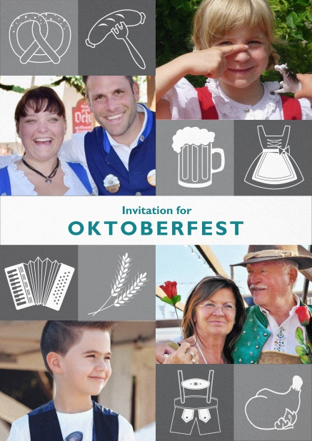 Oktoberfest invitation card with Oktoberfest images and photo fields to add own photos. Grey.