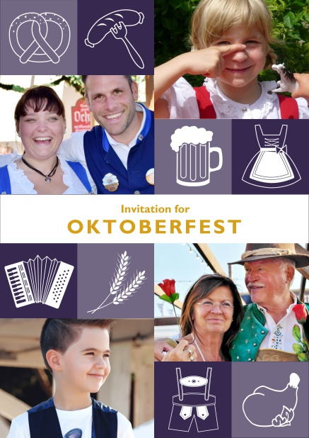 Online Oktoberfest invitation card with Oktoberfest images and photo fields to add own photos. Purple.