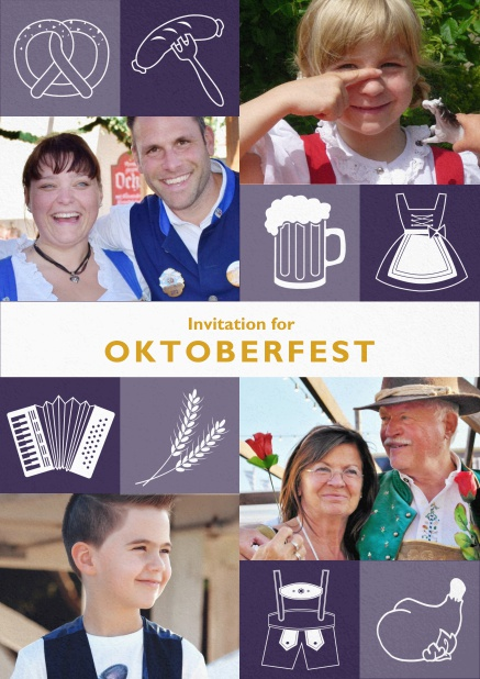 Oktoberfest invitation card with Oktoberfest images and photo fields to add own photos. Purple.