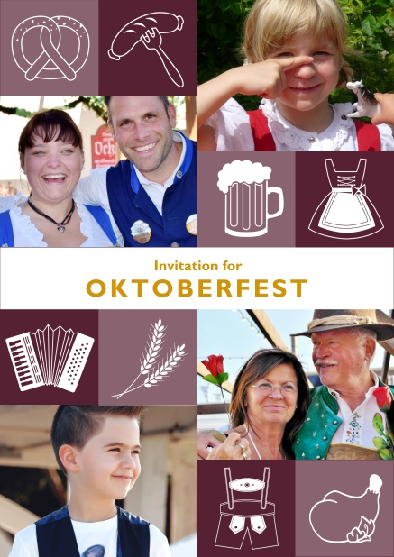 Online Oktoberfest invitation card with Oktoberfest images and photo fields to add own photos. Red.