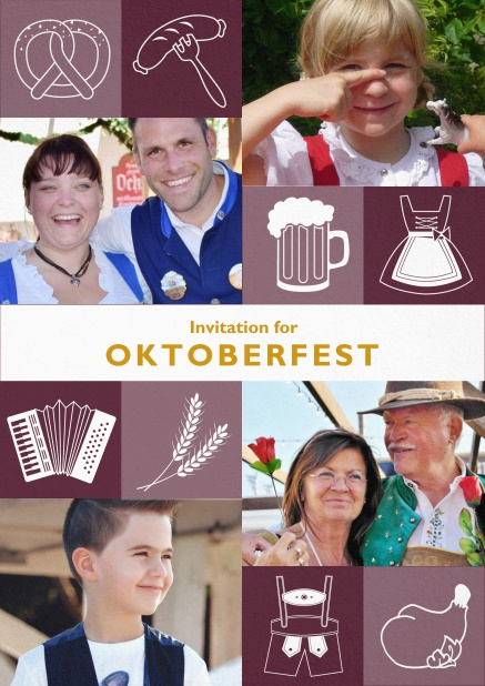 Oktoberfest invitation card with Oktoberfest images and photo fields to add own photos. Red.