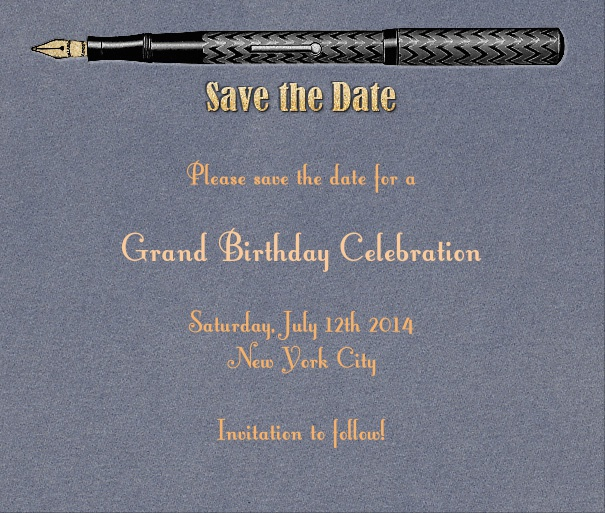 Blue Modern Save the Date Event Card with Pen.