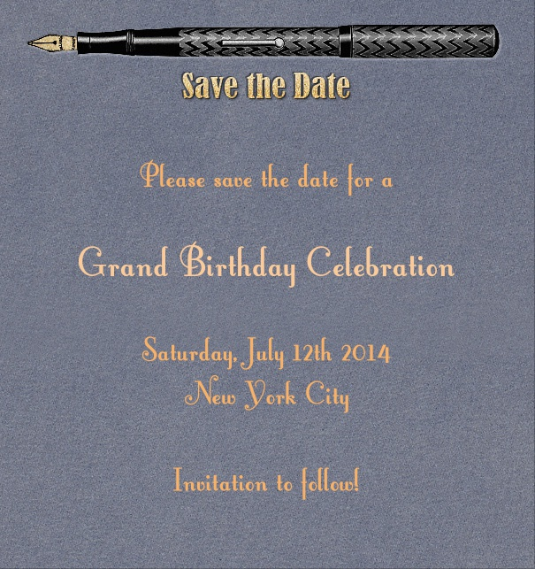 High Blue Modern Save the Date Event Card with Pen.
