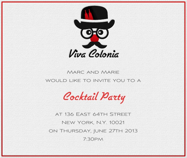 Square White Gatsby Themed Party Invitation Template with Red border and figure.