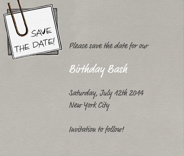 Grey Modern Event Save the Date template with post it.