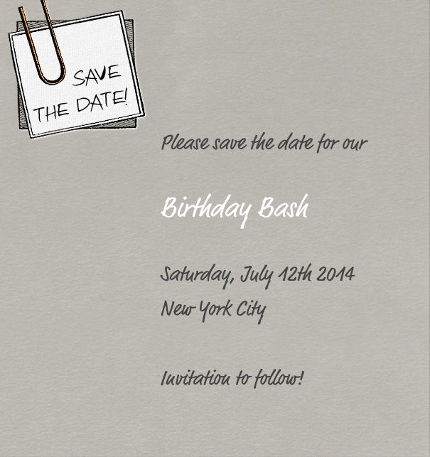 High Grey Modern Event Save the Date template with post it.