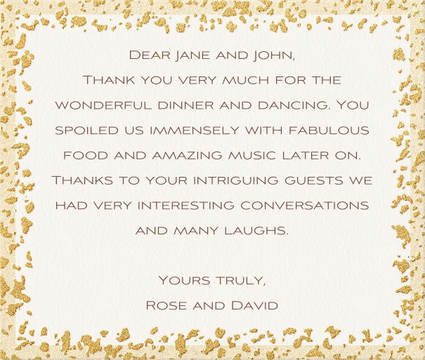 White Formal Thank you Card with Gold Flake Border.