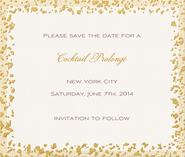 White Formal Wedding Save the Date Card with Gold Flaked Border.