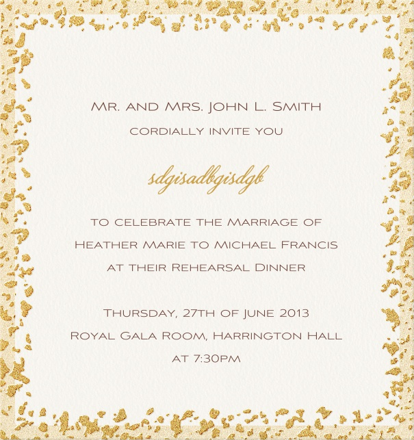 Beige, formal themed party Invitation Template with golden flaked frame.