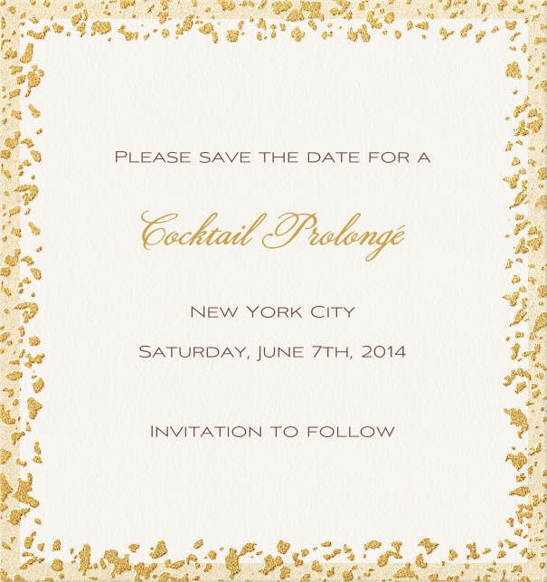 High White Formal Wedding Save the Date Card with Gold Flaked Border.