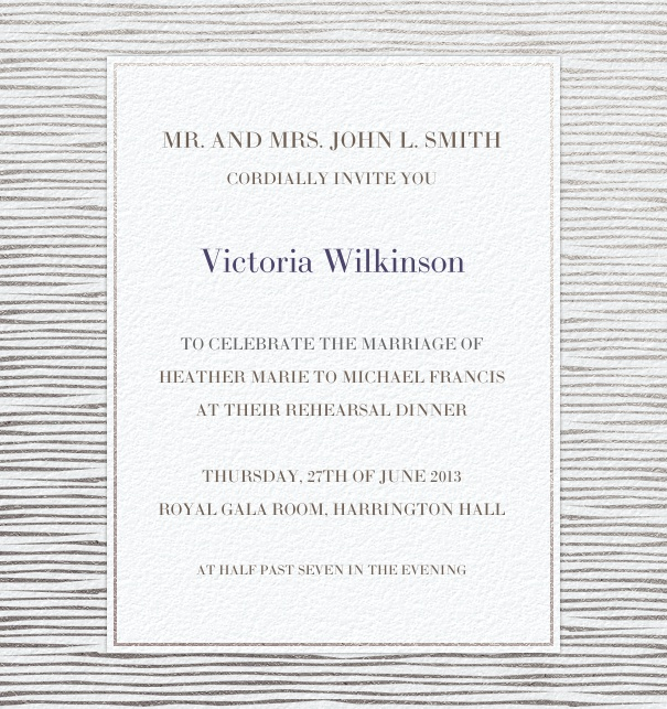 Formal, grey Wedding Invitation Template with stripe border.